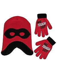 Disney 男童 Incredibles 2 帽和手套防寒套装,红色/黑色,适合 4-7 岁儿童