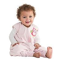 HALO学步幼儿可伸脚摇粒绒安全睡袋 (秋冬厚款) 粉色猫头鹰 XL(18-24个月)