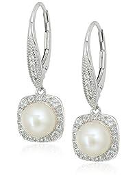 标准纯银淡水养殖珍珠带白色托帕石拉杆后耳坠