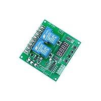 LIVISN AC DC 12v 24v 7v-27v 30A 2 通道正反电机控制板 0.1S 至 999 分钟可调节数字显示屏适用于控制双向电磁阀泵电机灯等。