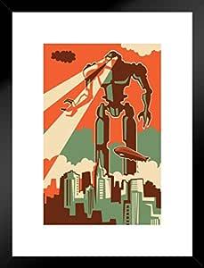 ProFrames 创作海报巨人机器人攻击纽约市复古艺术印刷品 Multi-color / 5661 Framed Matted in Black Wood 20x26 inch 257910