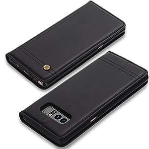 note 8保护套 Galaxy Note 8钱包式保护套 pixiu 防刮防震全身防护与卡套带支架翻盖皮革保护套适用于三星 Galaxy Note 816cm 黑色
