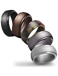 Miusco 男士硅胶婚戒,阶边时尚设计戒指,5 件装