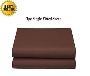 Elegant Comfort 奢华超软单面床单或床笠特殊*结构单人床、普通双人床、大号双人床、加州大号双人床、白色,灰色,黑色 巧克力棕色 California King Fitted Sheet