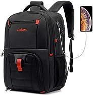 LOKASS 男士笔记本电脑背包,商务旅行时尚耐用笔记本电脑背包,带 USB 充电端口,防水大型电脑背包,适合 17 英寸笔记本电脑和笔记本电脑,黑色
