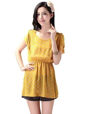 伊甸基因 2012新款女装韩版收腰荷叶袖长款大圆领上衣 EA-120029 (黄色)