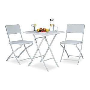 relaxdays 花园家具套装 可折叠 BASTIAN 3件套 方形 多种颜色 带折叠桌 高宽深 74 x 61.5 X 61.5厘米和2 x 花园椅子 82 x 44 x 50厘米 座椅组 花园家具 露台家具 白色 61.5 x 61.5 x 74 cm