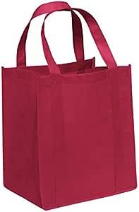 3件装 - 环保型可重复使用的袋无纺布杂货手提袋 38.1 cm 高 x 33.02 cm 宽 x 25.40 cm 带手柄 - Carrygreen 手提袋 红色 DS-9151Red