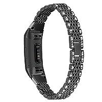 不锈钢金属替换表带适用于 Charge 3 / Charge 3 SE 和 Charge 4 2020 女士男式钻石水钻金属首饰腕带、闪亮手链时尚水钻
