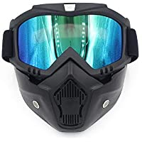 Easyinsmile 摩托车护目镜带可拆卸面罩,公路骑行紫外线摩托车眼镜,防尘面罩,防风酷头盔眼镜,适合滑雪、骑行户外活动