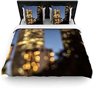 Kess InHouse 88 x 88 英寸 Ann Barnes NOLA 夜间编织羽绒被,加大双人床,城市灯