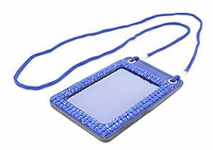 多彩 双 Windows 莱茵石 垂直 ID 徽章夹 带挂绳 蓝色。