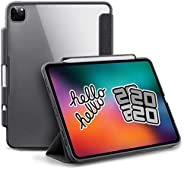 TineeOwl 摩卡 - iPad Pro 11(2020,*二代),超薄透明保护套带铅笔支架+三折支架保护套,支持苹果铅笔无线充电[吸收震动],轻便