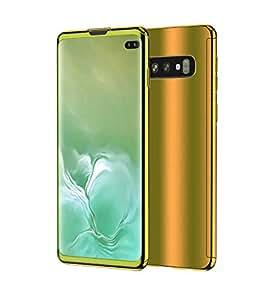 Galaxy S10 手机壳,超薄电镀 360 度全机身保护镜面手机壳带钢化玻璃屏幕硬质PC保护膜,适用于三星 Galaxy S10 金色