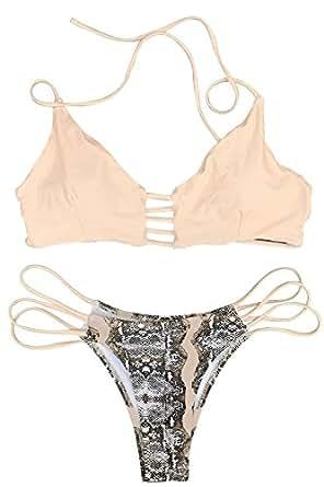 CUPSHE 女士条纹上装花卉印花下装吊带衬垫比基尼套装 粉红色 XX-Large (USA 18)