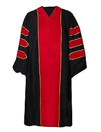 GradPlaza 豪华中性款带天鹅绒和金色滚边毕业礼服