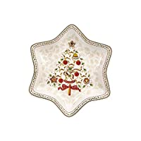 """Villeroy & Boch 德国唯宝 Winter Bakery """"树""""主题趣味星形碗 优质陶瓷,中等大小,白色/红色/米色"""