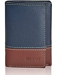 Estalon Handmade Men's Rfid Blocking Genuine Leather Trifold Multi Card ID Window Wallet