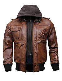 男式正品黑色连帽飞行员皮夹克 | 真羊皮打蜡棕色皮夹克,配有可拆卸帽子
