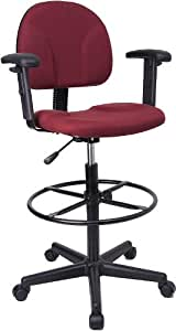 Flash Furniture BT-659-BY-ARMS-GG Burgundy Fabric Multi-Functional Ergonomic Drafting Stool with Arms