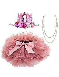 BGFKS 女婴柔软芭蕾舞短裙,带棉质尿布套,1 岁生日派对短裙套装