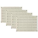 Pegboard Wall Organizer 瓷砖 - 墙壁控制模块化金属钉板瓷砖套装 - 四个 12 英寸高 x 16 英寸宽的木栓板板墙纸存储瓷砖 - 易于安装 米色 PEG-BOARD-1264 BE