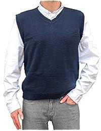 TINKUY PERU - 秘鲁羊驼毛 - 男式针织 V 领套头毛衣经典背心 - 海蓝色