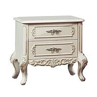 美伊尚品实木白色欧式奢华婚房床头柜ZXCG-003(亚马逊自营商品, 由供应商配送)