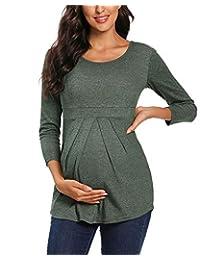 BBHoping 孕妇上衣正面褶皱荷叶边孕妇束腰圆领七分袖经典衬衫 Hunterbr Large