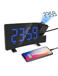 投影鬧鐘,帶 USB 電話充電器和 FM 收音機的數字時鐘,自動調節亮度,7 英寸 LED 弧形屏幕,180 度旋轉,臥室天花板數字鬧鐘,12/24 小時高