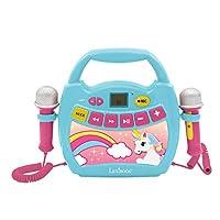 Lexibook MP300UNIZ 独角兽 我的*个卡拉 OK 音乐播放器 带 2 个玩具麦克风 无线 录音功能 声音效果 粉色 / 蓝色
