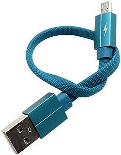 Foxy Fane 2A 织物 2.54 厘米扁平无缠绕尼龙微型 USB 连接线快速充电数据同步兼容三星 Galaxy 手机、Note HTC Nokia 索尼安卓设备 蓝色
