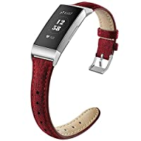 NAHAI 指環兼容Fitbit Charge 3/Charge 3 SE,細窄透氣帆布面料替換腕帶細運動表帶配件適用于 Fitbit Charge 3,女士男士,大號小號
