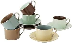 经典咖啡和茶 Inside Out 心杯和碟子,6 件套 Birch Classic (Set of 6) Cups Classic CC383