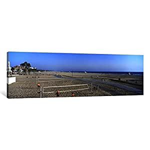 iCanvasART PIM8764-1PC6 Tourists Playing Volleyball on The Beach, Santa Monica, Los Angeles County, California, USA Canvas Print by Panoramic Images, 1.5 by 36 by 12-Inch
