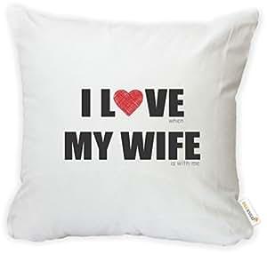 rikki KNIGHT I LOVE MY WIFE–dinner 适用于2超细纤维抱枕套靠垫带隐藏拉链–美国印花