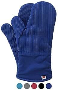 烤箱手套 - 高品质硅胶耐热,棉布可灵活烹饪、烘焙和烧烤烤。 再生棉内衬,毛圈衬里,480 F 耐热,1 对 深色皇家蓝 unknown