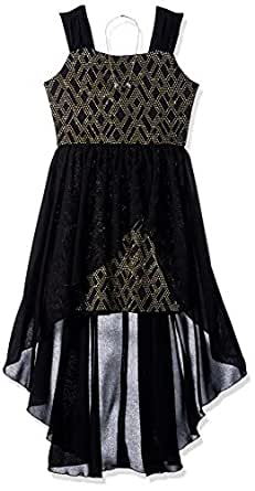 Amy Byer 女童蕾丝和天鹅绒连衣裙带雪纺裙罩,黑色/金色几何金属 Zig zag,10
