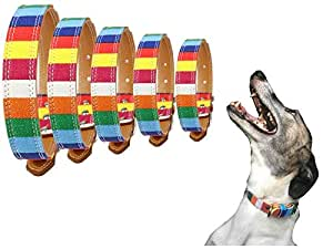 "Lushpetz 彩虹设计面料帆布结实宠物小狗项圈 XS 码 M 码 L 码 XL 码 ""Multi"" XSMALL Length of Collar 11.8"""