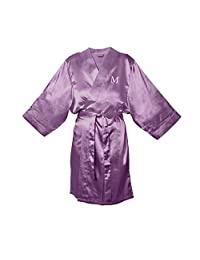Cathy's Concepts Personalized Satin Robe 紫色 L/XL