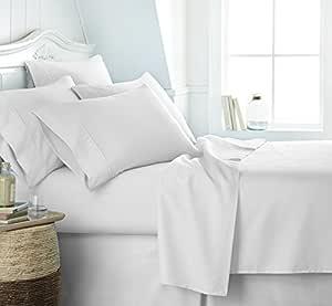 简单柔软 6 件套超软床单套装 白色 Queen SS-6PC-QUEEN-WHITE