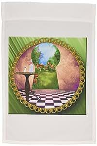 精神觉醒 Fantasy–through THE keyholes 爱丽丝梦游仙境艺术方格地板瓶装 OF Magic 水–旗帜 12 x 18 inch Garden Flag