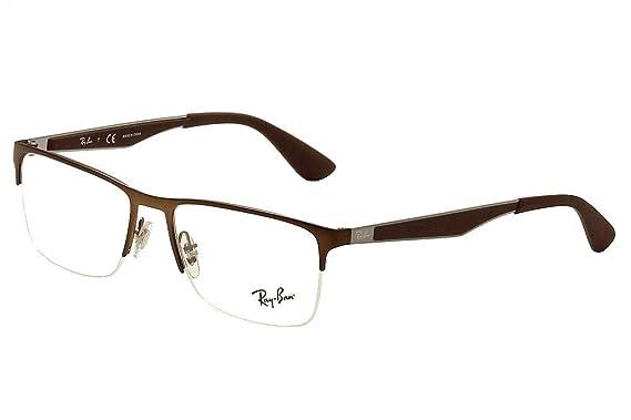 0f367a7439777 Ray Ban Eyeglasses RB6335 RB 6335 2758 Brown RayBan Half Rim Optical Frame  54mm-服饰箱包-亚马逊中国
