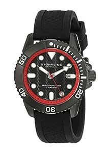 Stuhrling Original Men's 328R.335675 Aquadiver Regatta Atlantis Sport Swiss Quartz Divers Date Black Rubber Strap Watch