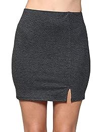 LaClef 女式修身弹力针织垂褶薄纱褶裥迷你裙