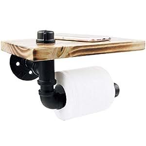 YamaziHD 乡村风格管道设计棕色木纹和黑色金属壁挂浴室铁架/马桶纸卷架 9.5'' L Shelf