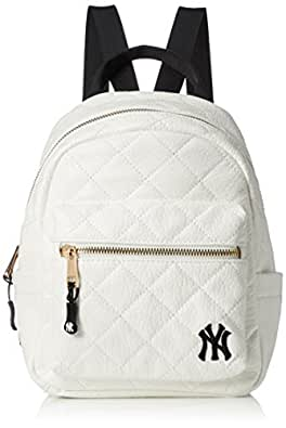 [MAJERRYG棒状球]背包 双肩包 双肩包 迷你背包 洋基队 纽约 女士 可爱 绗缝 时尚 刺绣 上学 学生 成人 通勤 旅行 YK-MBBK24(S) 白色 One Size