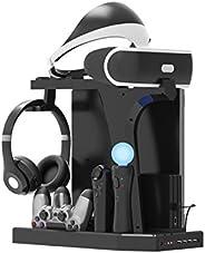 PlayStation 立式支架 - ElecGear PS4 充电站,散热风扇冷却器,PSVR耳机存储架,DualShock&PS VR移动运动控制器的充电器底座,4端口USB集线器,适用于PS4,超薄,Pro