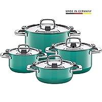 Silit 锅具套装4件套 自然绿色 金属控制盖 德国制造,Silargan?功能陶瓷 适用于电磁炉,洗碗机