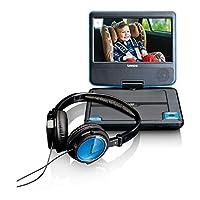 Lenco 便携式 DVD 播放器 DVP-710 - 7 英寸 便携式 DVD 播放器 - 锂电池 1000 mAh - 带耳机 - 12 V 车载适配器 - 头枕固定装置 - 蓝色